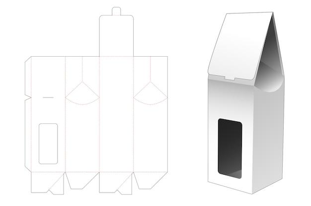 Sac en papier avec fenêtre pour bouteille modèle découpé