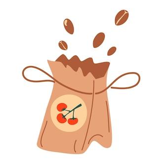 Sac en papier de graines. icône de sac organique d'engrais. paquets de graines de tomates. illustration de vecteur de dessin animé. semer à la main des graines de fleurs. collection d'argiculture plate.