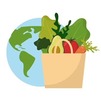 Sac en papier avec légumes et fruits