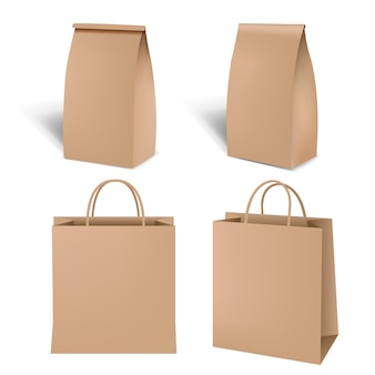 Sac de papier shopping marron sur blanc