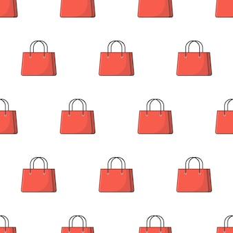 Sac de papier shopping modèle sans couture sur un fond blanc. illustration vectorielle de thème commercial