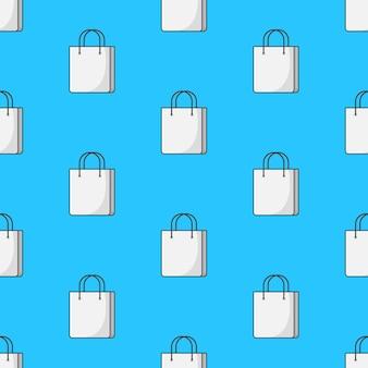 Sac de papier shopping modèle sans couture sur un fond bleu. illustration vectorielle de thème commercial