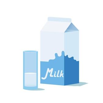 Sac en papier et verre avec du lait
