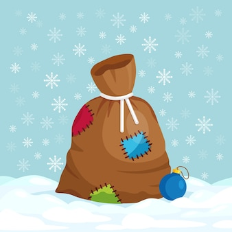 Sac de père noël avec boîte-cadeau. sac de noël fermé et plein de cadeaux