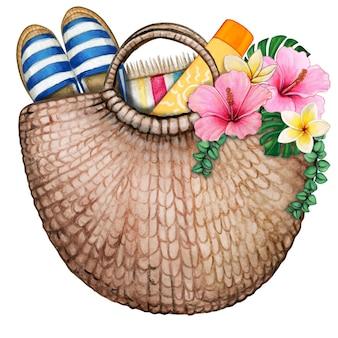 Sac de plage aquarelle avec fleurs