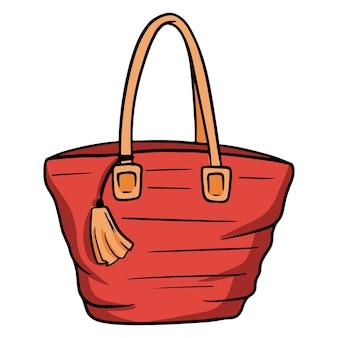 Sac de plage pour femme. grand sac de voyage. les choses dont vous avez besoin sur la plage. style de bande dessinée. illustrations pour le design et la décoration.
