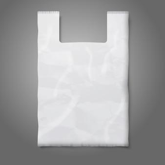 Sac en plastique blanc vierge avec place pour votre conception et votre image de marque.