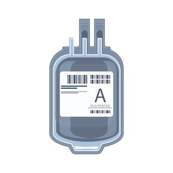 Sac en plastique contenant des cellules emballées, un don de sang ou une icône de concept de transfusion