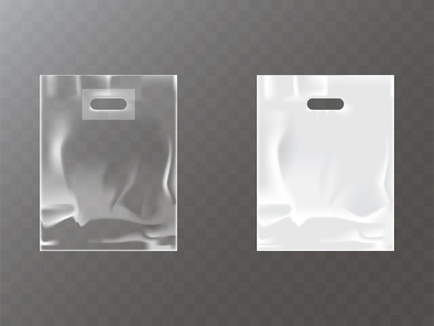 Sac de plastique ou de papier transparent et blanc avec trou de suspension