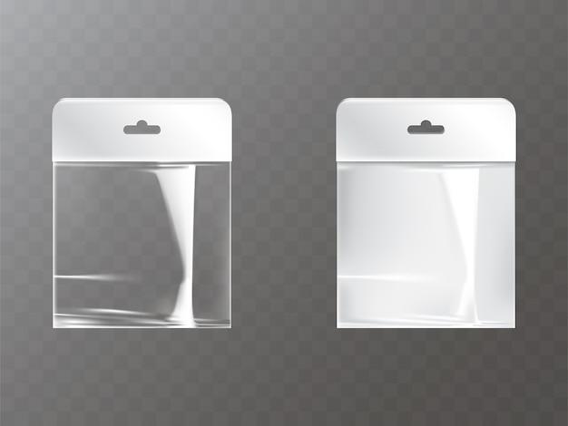 Sac de plastique ou de papier ziplock refermable transparent et blanc avec l'étiquette d'étiquette de trou de hang