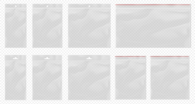 Sac en plastique transparent. pochette transparente isolée. ensemble de sac transparent vierge avec emballage bopp et poche d'emballage ziplock. sacs en polypropylène vides réalistes avec suspension euro pour la vente au détail