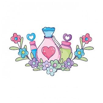 Sac de potion de poudre d'amour et bouteilles
