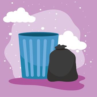 Sac poubelle et poubelle sur fond violet