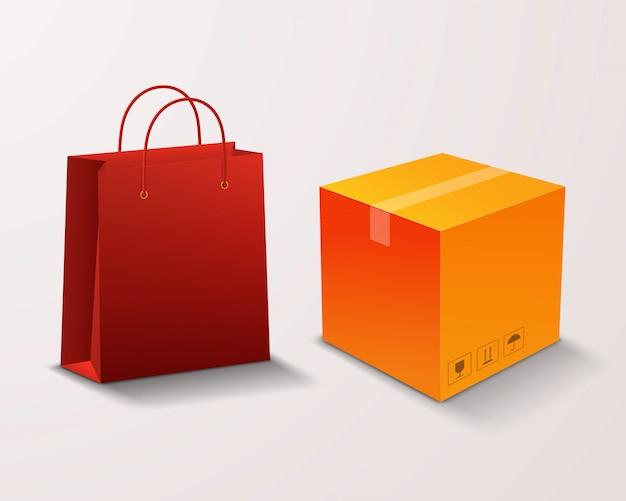 Sac à provisions et boîte pour les marchandises isolées sur une lumière