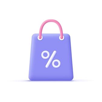 Sac à provisions de dessin animé 3d avec signe de pourcentage. achats en ligne, promotion des ventes, concept de remise. icône d'illustration vectorielle 3d.