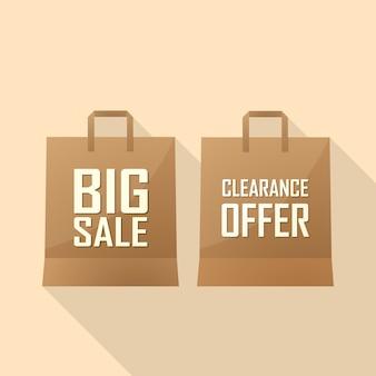 Sac à provisions avec offre de vente et grande vente. illustration