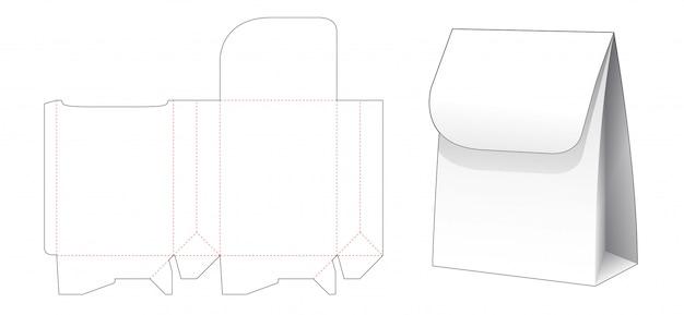 Sac à provisions en papier avec design de modèle découpé à rabat supérieur