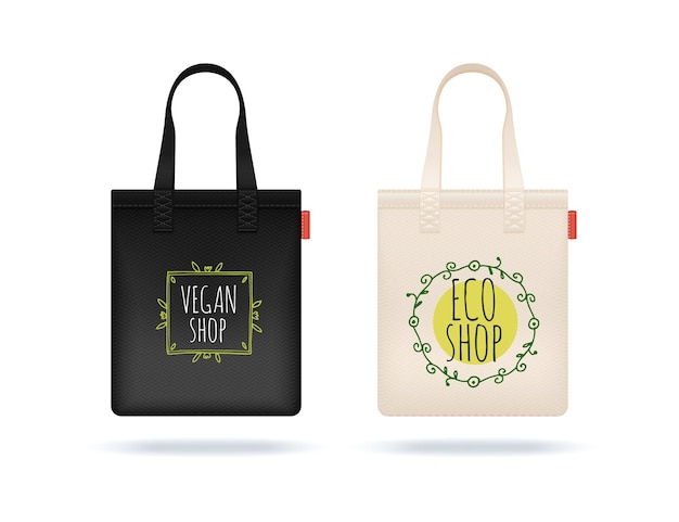 Sac à provisions réaliste. sacs en textile blanc noir