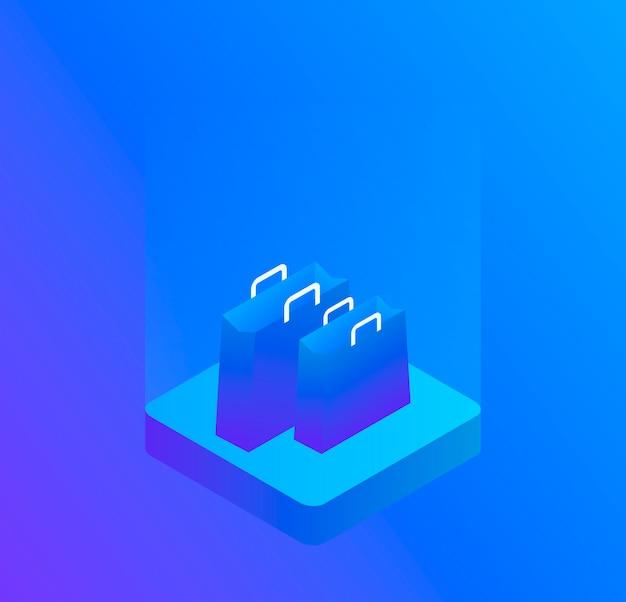 Sac à provisions en trois dimensions, isolé sur bleu. illustration isométrique moderne