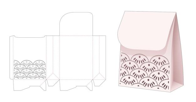 Sac à rabat en papier avec modèle de découpe de vague japonaise au pochoir