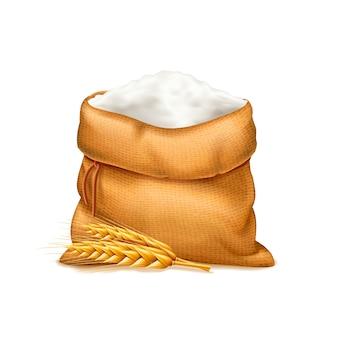 Sac réaliste de farine avec des épis de blé isolé sur blanc