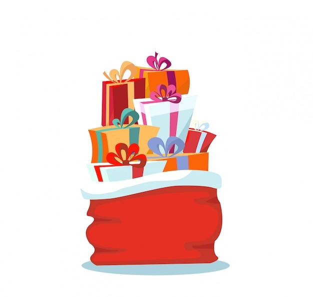 Sac rouge du père noël avec des cadeaux de noël