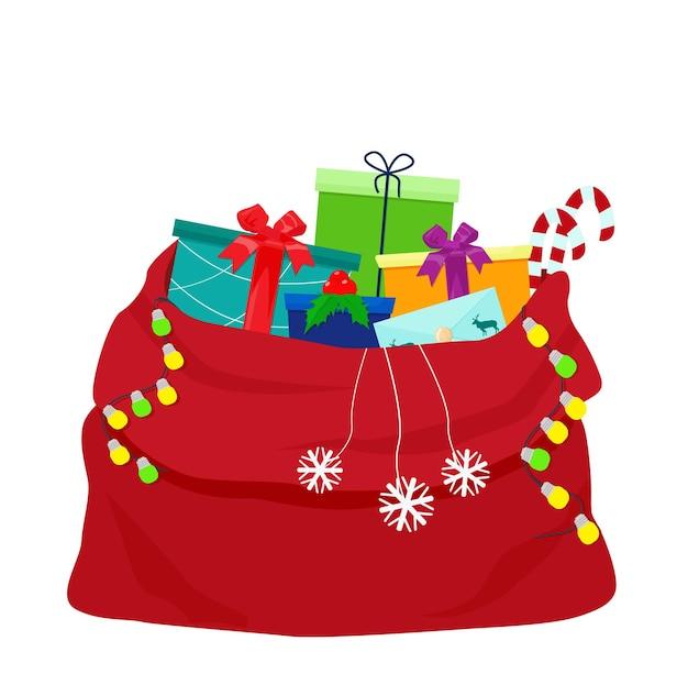 Un sac rouge ouvert avec des cadeaux de noël et des forfaits vacances. un accessoire du nouvel an.