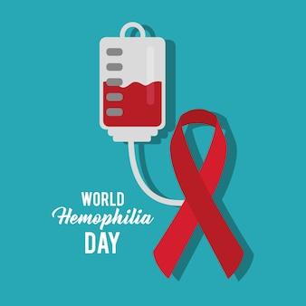 Sac de sang du ruban de jour de l'hémophilie mondiale