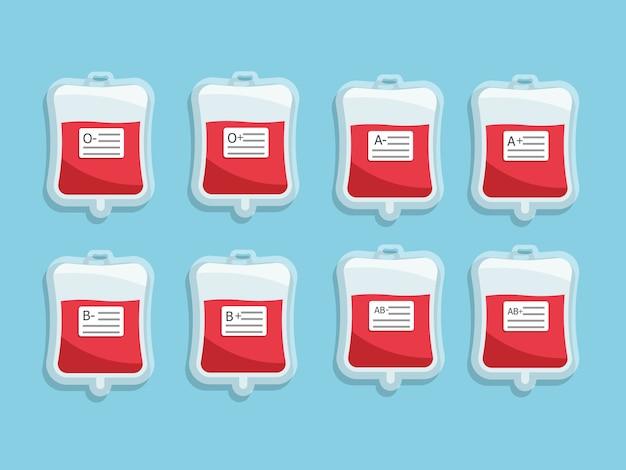 Sac de sang avec étiquette de groupe sanguin