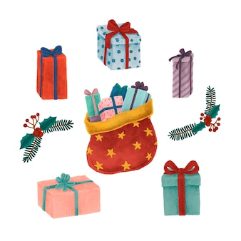 Sac de santa et illustration de cadeaux de noël