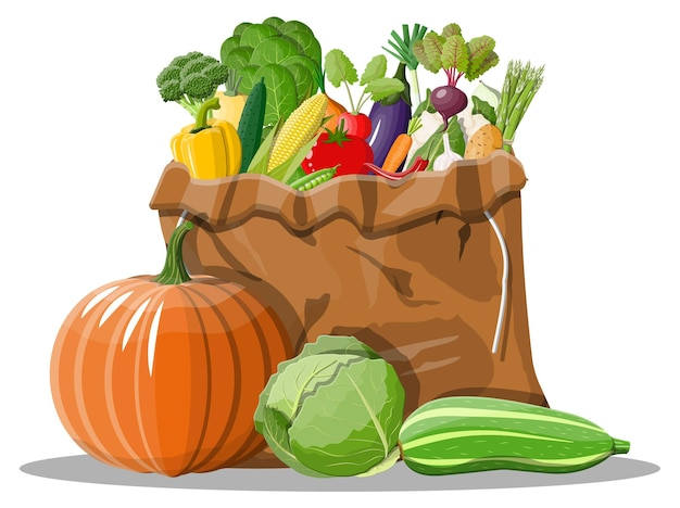 Sac en toile plein de légumes.