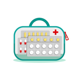 Sac transparent avec des médicaments pour les voyages. premiers secours pour la douleur. analgésiques, sédatifs, pilules, suppléments, traitement. illustration vectorielle à plat sur fond blanc