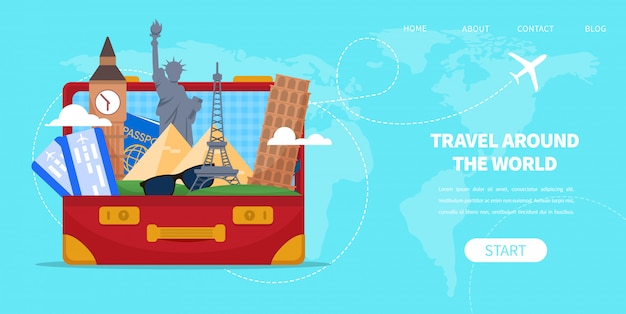 Sac de valise avec le vecteur de dessin animé célèbres monuments