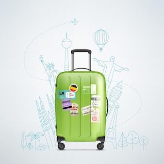 Sac de voyage en plastique de couleur avec différents éléments de voyage illustration vectorielle. concept de voyage