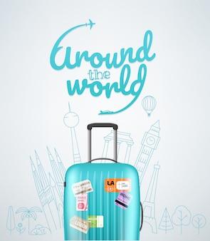 Sac de voyage en plastique de couleur avec différents éléments de voyage vector illustration. concept de voyage