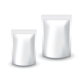 Sac ziplock blanc blanc de 2 tailles pour la nourriture ou le produit sain. isolé sur fond blanc avec une ombre. prêt à l'emploi pour la conception d'emballage.