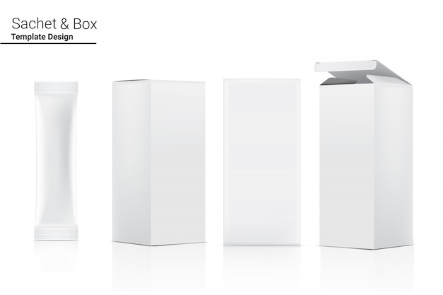 Sachet de bâton brillant 3d avec boîte en papier isolé. conception de concept d'emballage alimentaire et des boissons.
