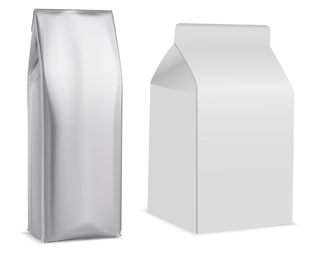 Sachet de café, emballage blanc, thé, biscuit. pochette en papier, pack de lait, produit de vente au détail.