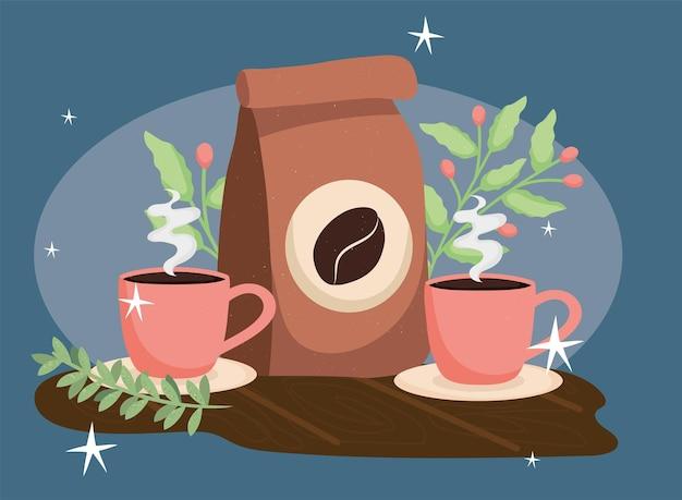 Sachet de café et plantes dans des tasses