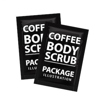 Sachet de gommage au café réaliste. ensemble de modèles cosmétiques. emballage du produit sur fond blanc