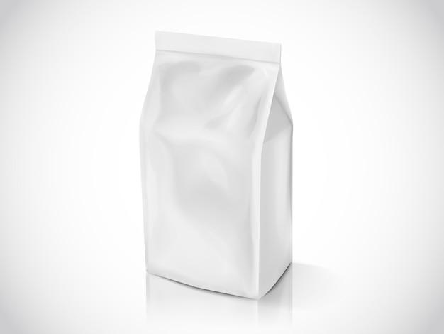 Sachet de grains de café ou de feuilles de thé, modèle de sac d'illustration pour les utilisations, sac en aluminium blanc perle