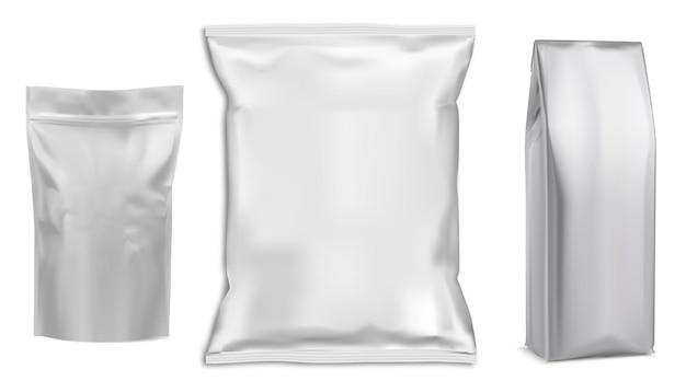 Sachet de nourriture emballage blanc paquet d'aluminium de sachet de nourriture. sachet 3d