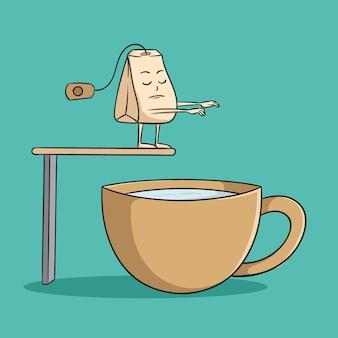 Sachet de thé drôle veulent sauter et nager dans une tasse de thé