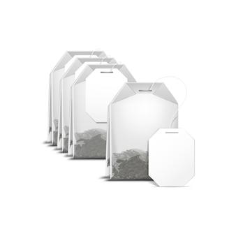 Sachet de thé sachet de thé avec étiquette blanche isolée
