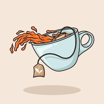 Sachet de thé de la tasse renversée une tasse de thé concept d'objet icône de dessin animé vecteur