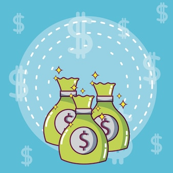 Sacs d'argent et des économies vector illustration design graphique