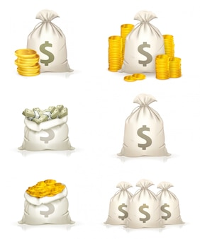 Sacs d'argent, fortune, pièces d'or, billets de banque, icônes