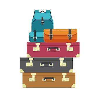 Sacs à bagages tas ou tas de bagages de voyage empilé isolé clipart vecteur plat dessin animé