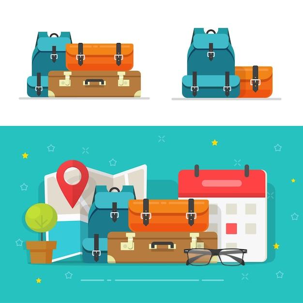 Sacs à bagages tas ou voyage voyage bagage tas empilé clipart isolé