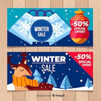 Sacs et bannière de soldes d'hiver rennes